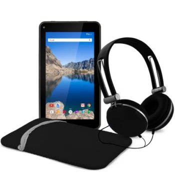 """Ematic EGQ373BL 7"""" 16GB Android 7.1 Nougat Tablet with Keyboard Folio Case and Headphones - Black"""