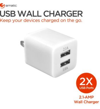 2X U.S.B. ports. 2.1 AMP wall charger