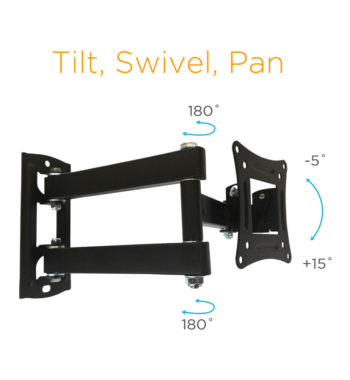 Tilt back -5 and forward 15 degrees. Swivel 180 degrees. Pan.