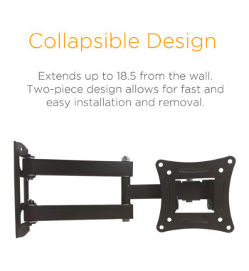 Collapsible Design. Extends up to 18.5 inches from the wall. Two-piece design allows for fast & easy installation & removal.