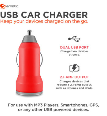 Ematic Dual USB 2.1-Amp Car Charger
