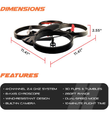 Ematic Nano Quadcopter Drone with 2.4GHz Control and 6-Axis Gyroscope, EDA302C